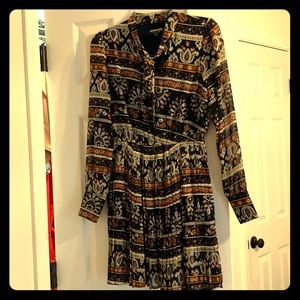 Long sleeve shear pleated dress